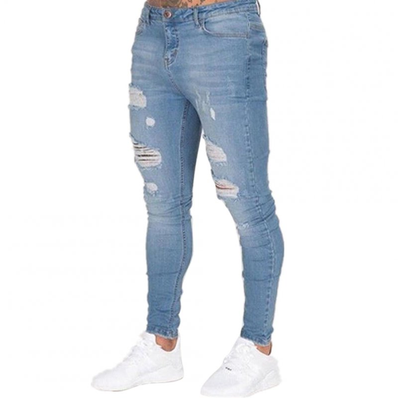 Men Fashion Slim Knee Broken Hole Jeans Pants Light blue_L
