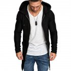 Men Fashion Slim Medium Long Dovetail Wind Coat Zipper Sweatshirts Cardigan black_M