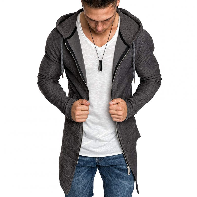 Men Fashion Slim Medium Long Dovetail Wind Coat Zipper Sweatshirts Cardigan gray_XL