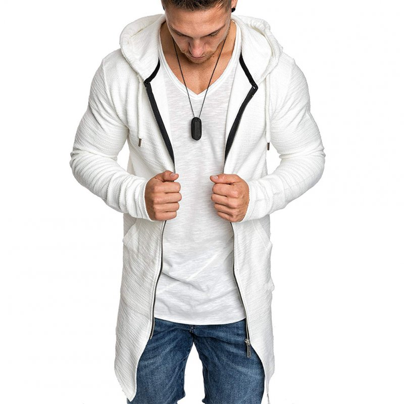 Men Fashion Slim Medium Long Dovetail Wind Coat Zipper Sweatshirts Cardigan white_XL