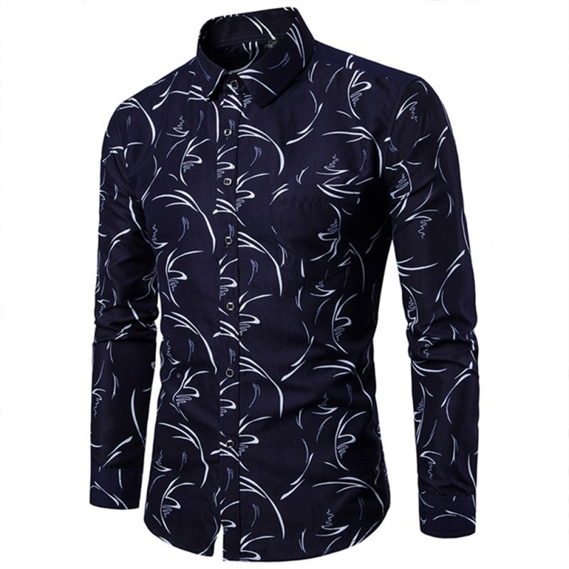 Men Fashion Slim Printing Long Sleeve Business Shirt Navy blue_M