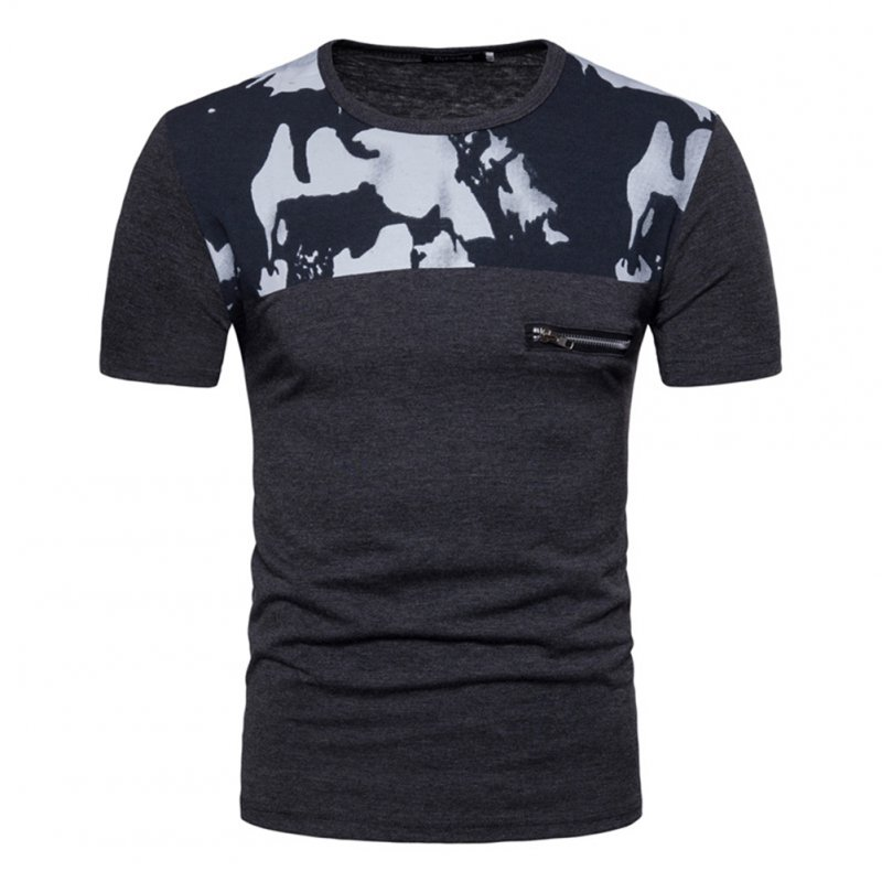 Men Fashion Slim Short Sleeve Color Matching Round Collar T Shirt Dark gray_2XL