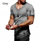 Men Fashion Solid Color Short Sleeves Breathable V neck T shirt gray L