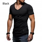 Men Fashion Solid Color Short Sleeves Breathable V-neck T-shirt black_XL