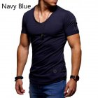 Men Fashion Solid Color Short Sleeves Breathable V-neck T-shirt Dark blue_L