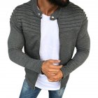 Men Fashion Solid Color Striped Tops Zipper Closure Casual Jacket  gray_M