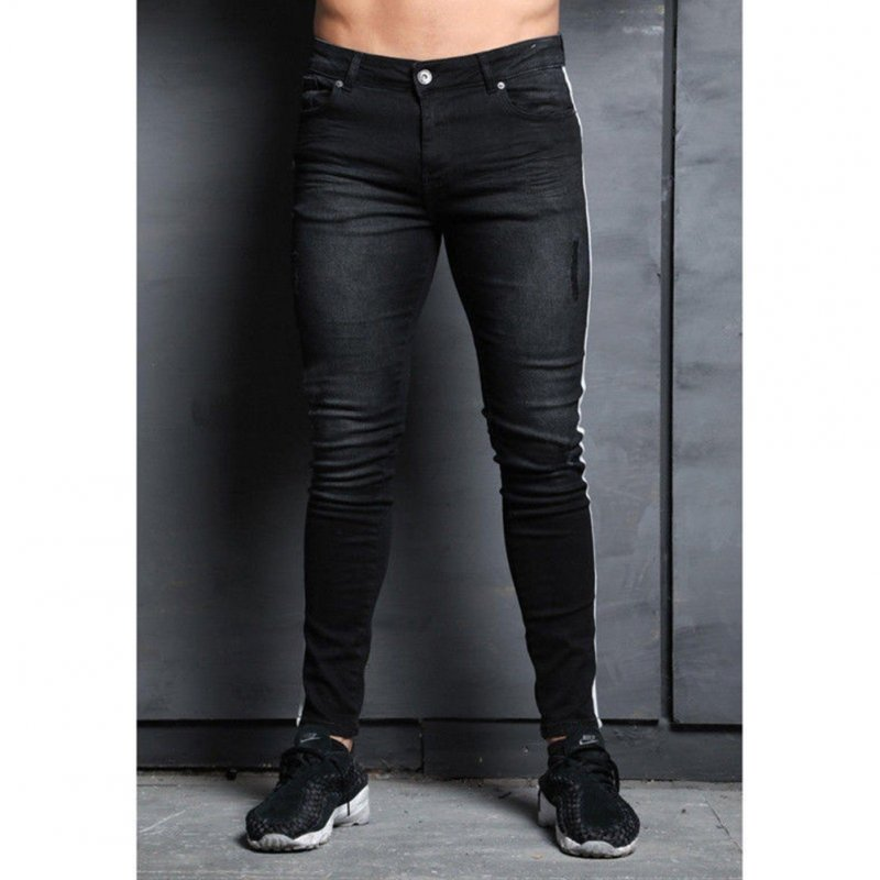 Men Fashion Splicing Broken Hole Jeans Pencil Pants black_L