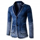 Men Fashion Spring Autumn Blue Denim Blazer Coat Top blue_XXL