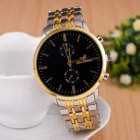 Men Fashion Stainless Steel Belt Watches Concise Business Style Quartz Watch  black