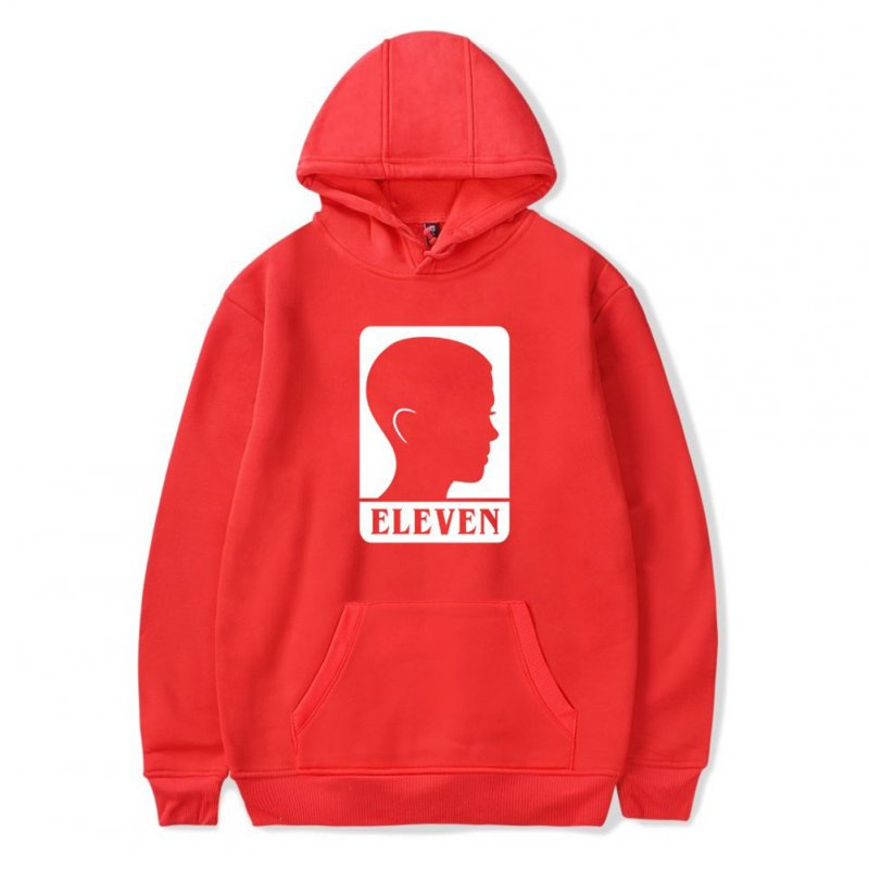 Men Fashion Stranger Things Printing Thickening Casual Pullover Hoodie Tops red-_M