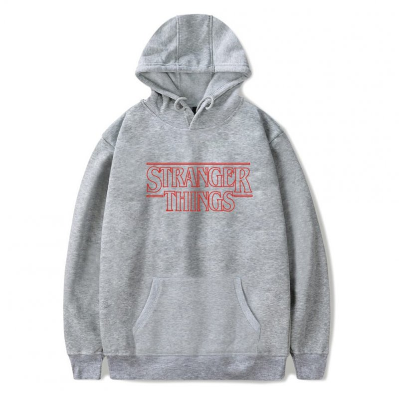 Men Fashion Stranger Things Printing Thickening Casual Pullover Hoodie Tops gray--_2XL