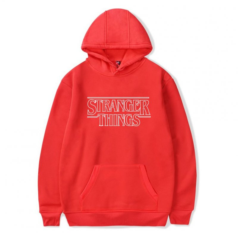 Men Fashion Stranger Things Printing Thickening Casual Pullover Hoodie Tops red--_L