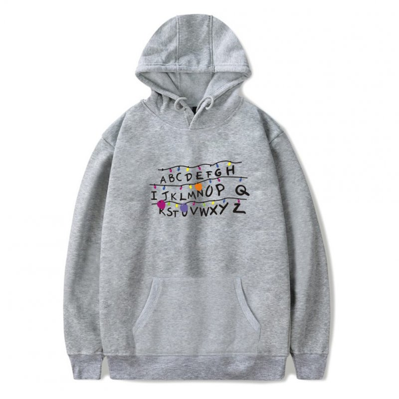 Men Fashion Stranger Things Printing Thickening Casual Pullover Hoodie Tops gray---_XL