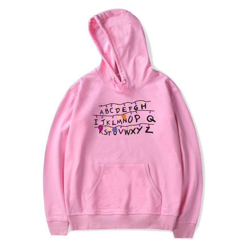 Men Fashion Stranger Things Printing Thickening Casual Pullover Hoodie Tops Pink ---_XXXL