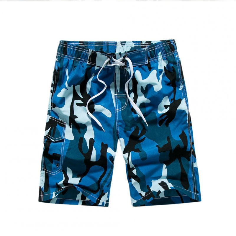 Men Fashion Summer Beach Camouflage Style Surf Baggy Shorts blue_L