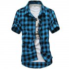 Men Fashion Summer Casual Shirt Soft Cotton Plaid Pattern Short Sleeve Shirts Tops sky blue L