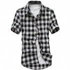 Men Fashion Summer Casual Shirt Soft Cotton Plaid Pattern Short Sleeve Shirts Tops Black and White M