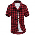 Men Fashion Summer Casual Shirt Soft Cotton Plaid Pattern Short Sleeve Shirts Tops   Red  M