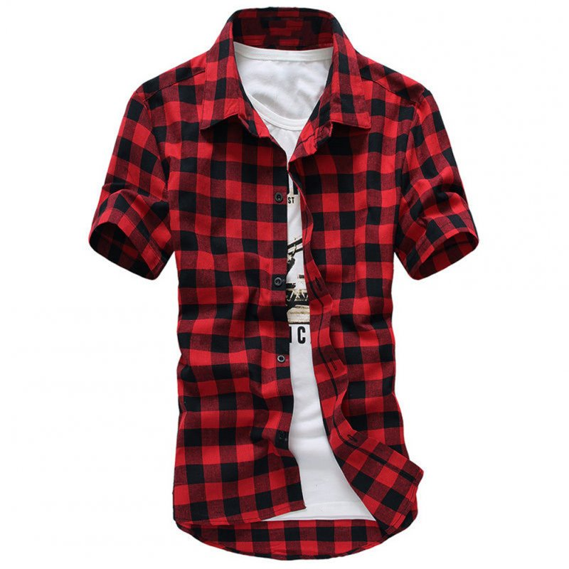 Men Fashion Summer Casual Shirt - Red  M