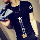 Men Fashion Summer Printing Slim Short Sleeve Round Collar T-shirt Striped stars short T black_2XL