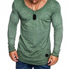 Men Fashion Vivid Color Casual Tops Soft Cotton Round-neck Shirt  green_M