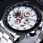 Men Fashion Waterproof Multi-Function Automatic Mechanical Watch Silver belt white dial