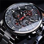 Men Fashion Waterproof Multi-Function Automatic Mechanical Watch Black belt black dial
