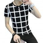 Men Fashion Youth Round Neck Short-sleeved T-shirt Plaid Pattern Tops Plaid black_L