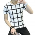 Men Fashion Youth Round Neck Short-sleeved T-shirt Plaid Pattern Tops Plaid white_L