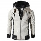 Men Fashionable Hooded Sport Zippers Outerwear Sports Solid Color Hoodies creamy white_S