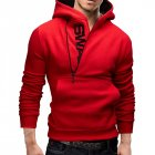 Men Fashionable Hoodie Letter Logo Casual Sweatshirts Hooded Pullover Top   Red M