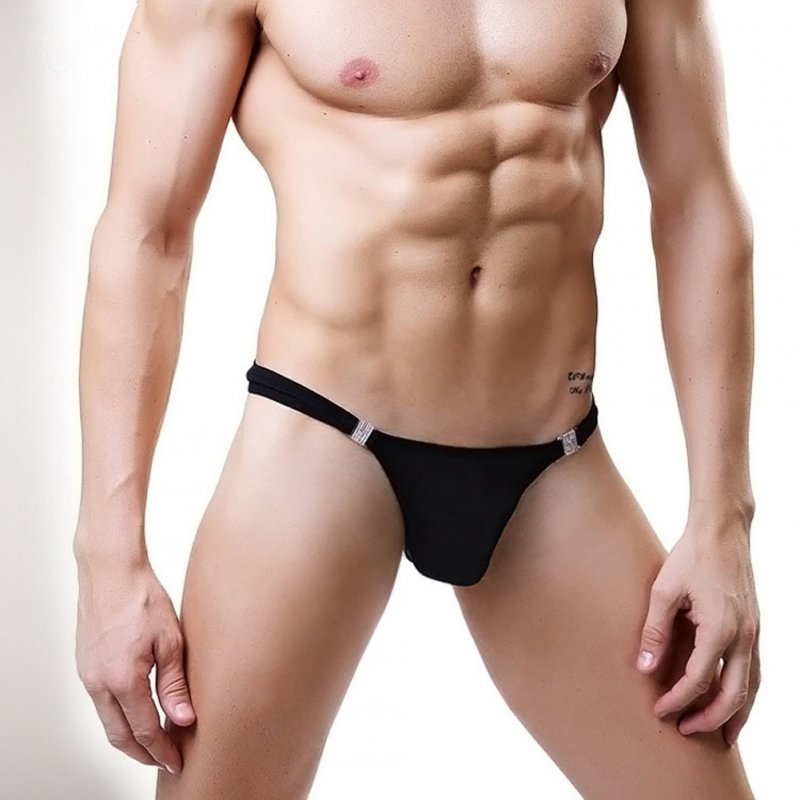Men G-string Tulle Thong Low Waist Sexy Underwear Breathable Erotic Panties Lingerie black_One size