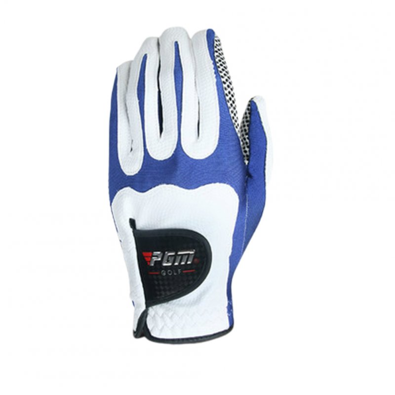 Men Golf Fiber Cloth Gloves Left/Right Hand Glove Magic Elastic Particles Men Slip-resistant Accessories [Left hand] white blue_ML