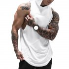 Men Gym Muscle Sleeveless Tee Shirt Top Bodybuilding Sport Fitness Vest white_XXL