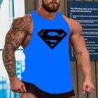 Men Gym Muscle Tank Tops Bodybuilding Shirt Sport Fitness Tops Blue Black_L