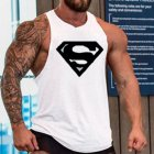 Men Gym Muscle Tank Tops Bodybuilding Shirt Sport Fitness Tops White Black_XXL