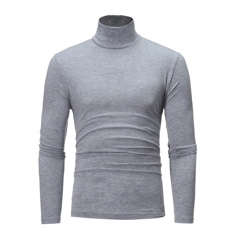 Men High Collar Pullovers Solid Color Long Sleeve High Collar All-matching Tops  light grey_2XL