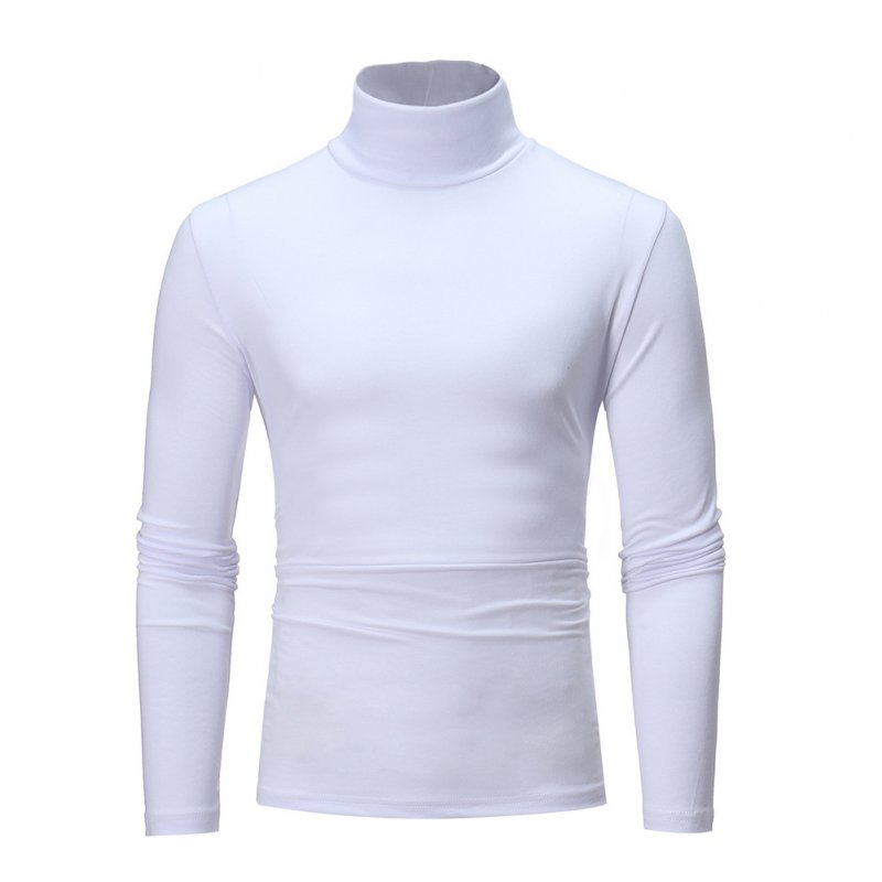 Men High Collar Pullovers Solid Color Long Sleeve High Collar All-matching Tops  white_3XL