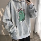 Men Hip-hop Hoodie Sweatshirt Autumn Winter Cartoon Animal Couple Loose Casual Pullover Tops gray_L