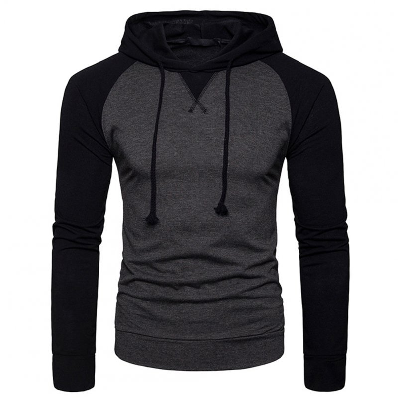 Men Hip-hop Long Sleeve Hoodie Fashion Combined Color Sports Casual Pullover Sweatshirt  Dark gray_M