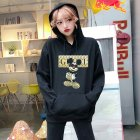 Men Hoodie Sweatshirt Cartoon Micky Mouse Autumn Winter Loose Student Couple Wear Pullover Black_XXL