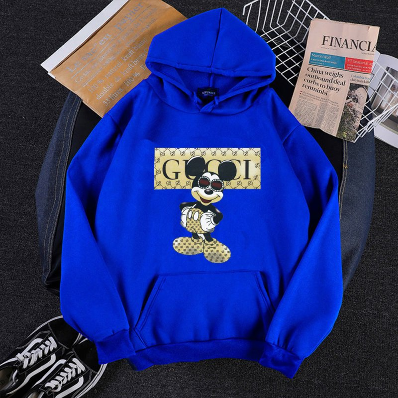Men Hoodie Sweatshirt Cartoon Micky Mouse Autumn Winter Loose Student Couple Wear Pullover Blue_XXXL