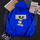 Men Hoodie Sweatshirt Cartoon Micky Mouse Autumn Winter Loose Student Couple Wear Pullover Blue XL