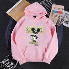 Men Hoodie Sweatshirt Cartoon Micky Mouse Autumn Winter Loose Student Couple Wear Pullover Pink_XXL