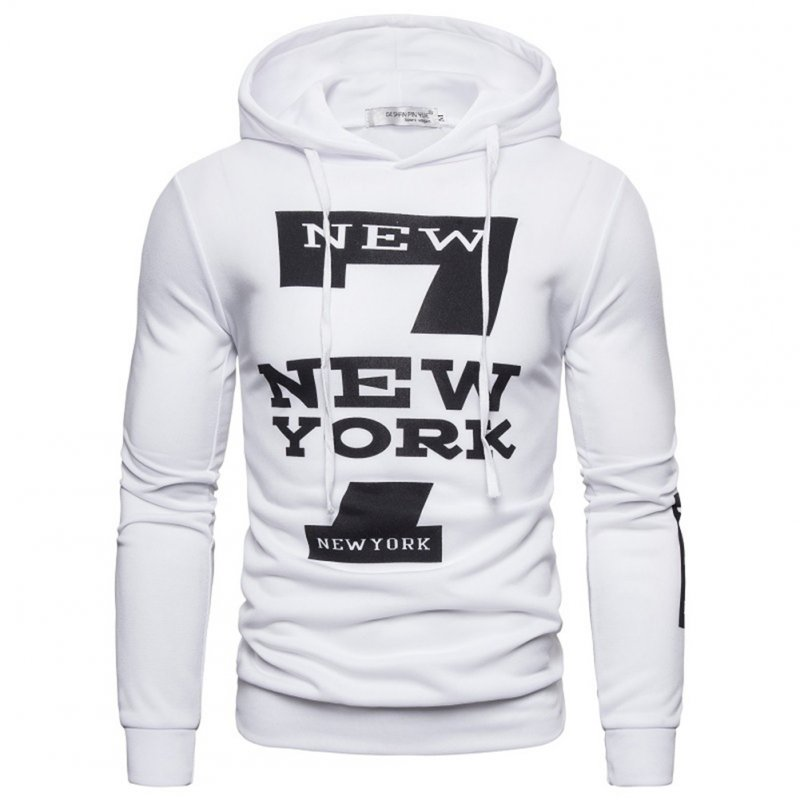 Men Hoodie Sweatshirt New York 7 Printing Drawstring Loose Male Casual Pullover Tops White_S