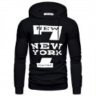 Men Hoodie Sweatshirt New York 7 Printing Drawstring Loose Male Casual Pullover Tops Black_L