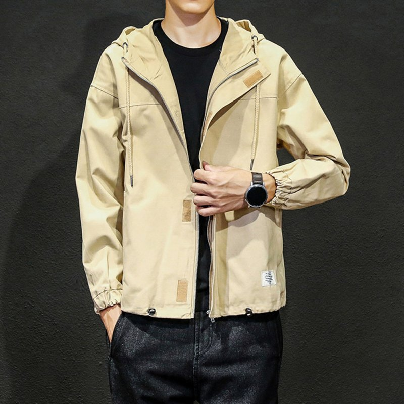 Men Jacket Autumn Large Size Hooded Fashion Magic Sticker Loose Coat Khaki_L