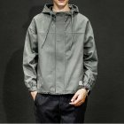 Men Jacket Autumn Large Size Hooded Fashion Magic Sticker Loose Coat Army green_L