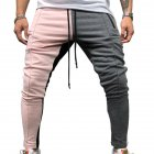 Men Jogger Stadium Gymnasium Colorful Striped Casual Matching Color Pants  Pink gray_L
