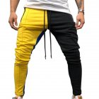 Men Jogger Stadium Gymnasium Colorful Striped Casual Matching Color Pants  Yellow black_M